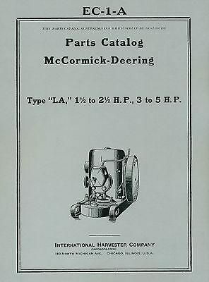 McCormick Deering  Type  LA Parts Catalog