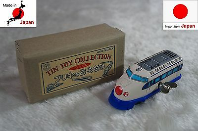 kiTki made in Japan windup tin plate toy blue train collectible figure