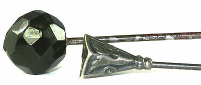 PAIR OF TWO VICTORIAN ANTIQUE FACETED BLACK GLASS  & STERLING SILVER HATPIN