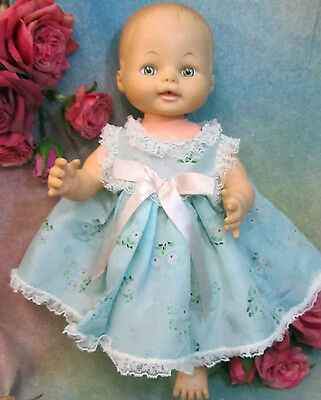 """VINTAGE 1950s DOLL dress PINAFORE  blue RAYON pink  FLOWER print LACE fit 10-14"""""""