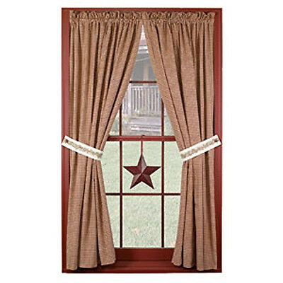 """New Primitive Country 84""""  BERRY VINE Burgundy Check Curtain Window Panels"""