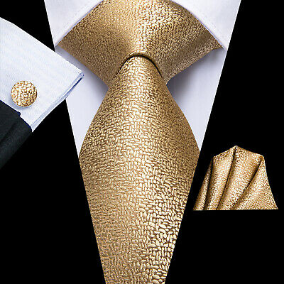 USA Mens Silk Tie Gold Solid Novelty Classic Woven Necktie Set Wedding Business