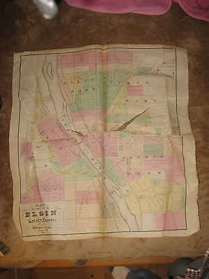 Huge Antique 1871 Elgin City Kane County Illinois Handcolored Map Superb Nr