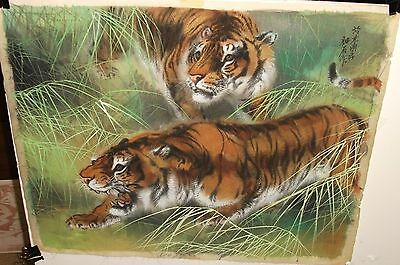 Two Japanese Tigers Hunting In Grass Original Watercolor Silk Painting Signed