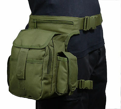 Olive Green TACTICAL WAIST MULTI PACK with LEG STRAP - Airsoft Hunting Hip Bag