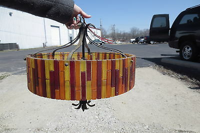 Vintage 1960 large Moe circle light chandelier orange FIESTA acrylic rectangles