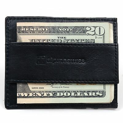 Alpine Swiss Mens Minimalist Front Pocket Wallet Card Case Cash Strap Money Clip