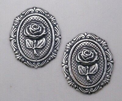 #9106 ANTIQUED SS/P 18x13mm FILIGREE BORDERED BEZEL W/ROSE - 2 Pc Lot
