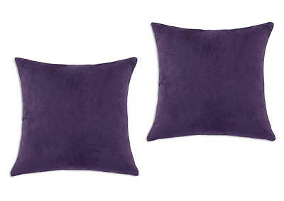 2 Piece Euro Shams Solid Purple Cover Case Micro Suede Decorative Pillow 26 x 26