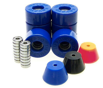 Kryptonics Impulse 62mm Rollerskate Wheels ABEC 5 7 9 Bearings  Breakpads BLUE