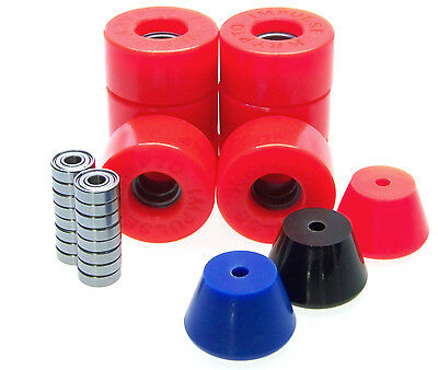 Kryptonics Impulse 62mm Rollerskate Wheels ABEC 5 7 9 Bearings  Breakpads RED