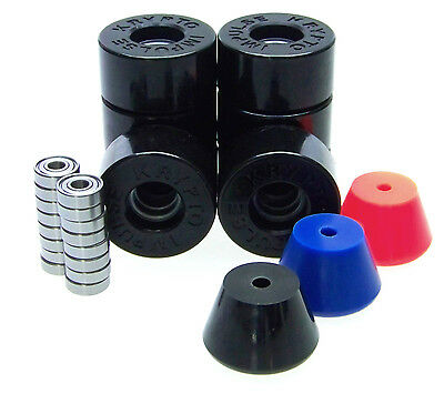 Kryptonics Impulse 62mm Rollerskate Wheels ABEC 5 7 9 Bearings  Breakpads BLACK