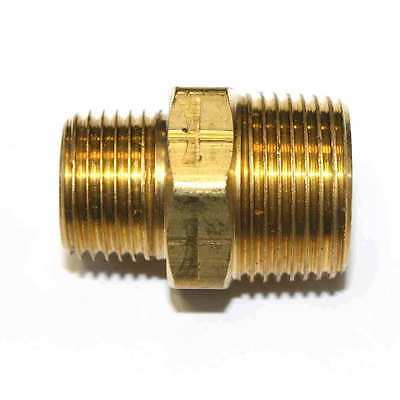 "1/2"" x 3/4"" NPT Male Brass Hex Nipple Reducer pipe fitting air fuel water FA819"