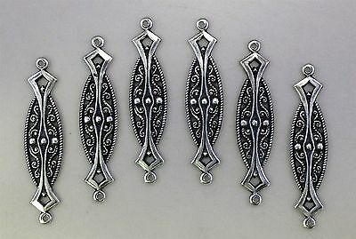 #1586 ANTIQUED SS/P OPEN FILIGREE 2 RING CONNECTOR - 6 Pc Lot