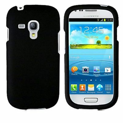 Samsung Galaxy S 3 Mini Black Case Hard Rubber Phone Protector Skin Cover