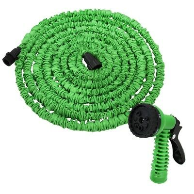New Latex 75 FT Expanding Flexible Garden Water Hose with Spray Nozzle in Green