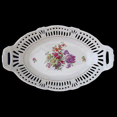 Vintage Pierced Serving Bowl With  Handles Germany