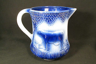 Flow Blue Pitcher Cow In Meadow Vintage Pottery