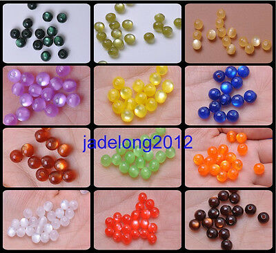 100pcs New Fashion Charm Acrylic Cat's Eye Round Loose Spacers Beads 6mm