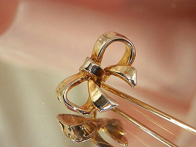 Sterling Silver Mellow Gold Wash Vintage 1960s Bow Stick Pin  180H