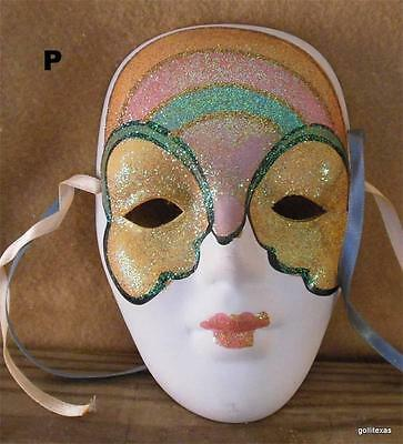 """Ceramic Mask Rainbow and Butterfly Wings Bisque Hand Painted with Ribbons 6""""  P"""