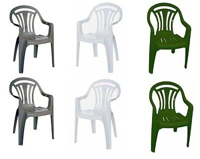 2 Of 3 Plastic Chair Low Back Patio Garden Stackable Chairs Pack Of 2,4,6  Green