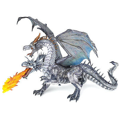 PAPO Fantasy World Two Headed Dragon Silver Action Figure