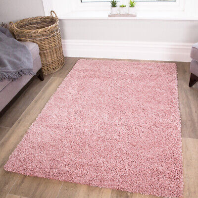 NEW SMALL LARGE THICK SOFT BABY PINK SHAGGY RUGS NEW NON SHED 5cm PILE KIDS RUGS
