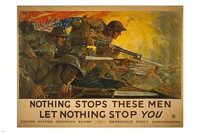 VINTAGE world war one Propaganda Poster 24X36 WEAPONS PATRIOTIC soldiers
