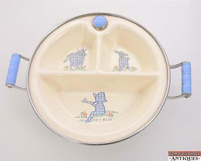 Boy Blue Handled Excello Metal Baby/Childs Warming Dish w/Stopper Cow Lamb