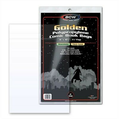 100 BCW RESEALABLE THICK Golden Comic Book Poly Bags + Acid Free Backer Boards
