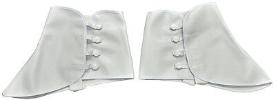 1920S Roaring 20's White Vinyl Spats Gangster Costume Shoe Covers Spats W/ Snap