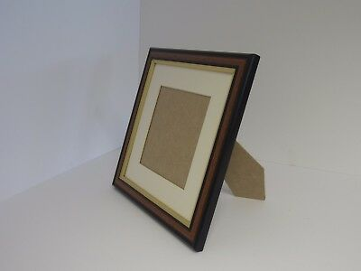 Traditional Brown 5x5 Square Photo Picture Frame Mount 3x3 Free