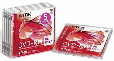 5x TDK DVD-RW DVD/RW Re-Recordable Discs - 4.7GB - 4x Speed - With Jewel Cases