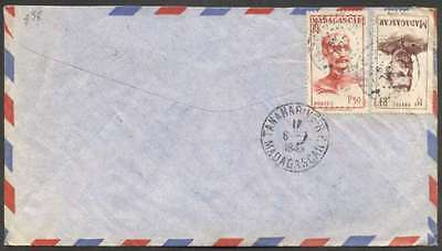 Madagascar To France Airmail Cover 1949 w 2 Stamps L@@K