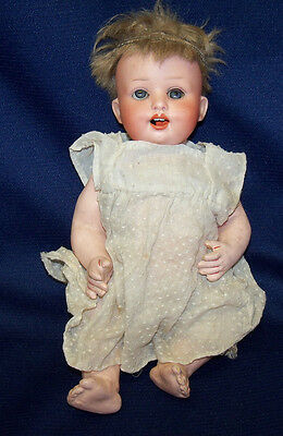 """Antique 10"""" Heubach Koppelsdorf Composition Body Bisque Head Character Baby Doll"""