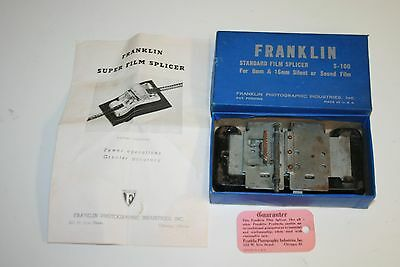 Vintage Mid Century Franklin Industries 8mm Film Splicer w/ Original Box Rare