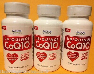 3 UBIQUINOL CoQ10 by FACTOR NUTRITION LABS. 100 mg. 30+30+30=90 CAPS. EXP. /2015