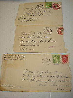 US ARMY TRANSPORT Service ATS 1935 3 Military COVERS USS REPUBLIC AP 33 SF CA !!