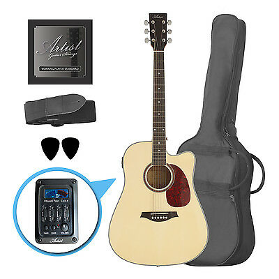 Artist LSPCEQNT Beginner Acoustic Electric Guitar Pack - Natural - New