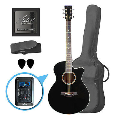 Artist LSPSCEQBK Small Body Beginner Acoustic Electric Guitar -Black - New