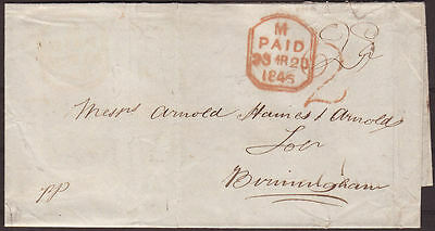 1846 Cover To Birmingham With London '2' Charge Mark And Tombstone Cancel