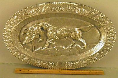 Antique Large Cast Aluminum Wall Hanging Tray Figural Hunt Scene Dog W/ Pray