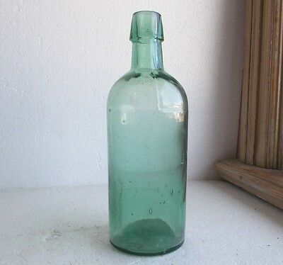 "TEAL GREEN 3 PC MOLD 7 1/2"" MASTER INK BOTTLE DUG IN 1870s PRIVY PIT APPLIED LIP"
