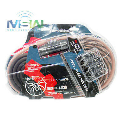 SOUNDSTREAM® WK-2G 2 AWG GAUGE COMPLETE CAR AMPLIFIER AMP WIRE KIT w/ RCA CABLES