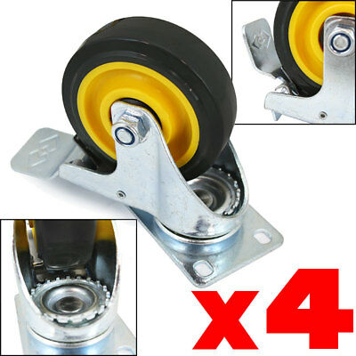 "4pc  4"" Wheel Swivel Plate Casters With Brake yellow Polyurethane pu 1000LBS new"