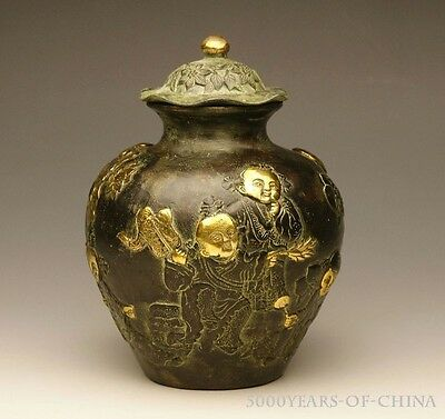 """5.51"""" Beautiful Old Golden Gild Playing Baby Bronze Pot /W Lid"""