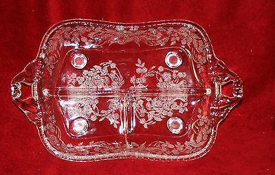 Vintage Elegant Glass New Martinsville Meadow Wreath Divided Relish Excellent!