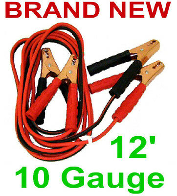 12' Jumper Cables,10 Gauge/200 Amp Battery Booster Cable,Car/ATV/Boat/Marine,New