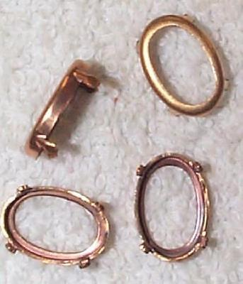 Vintage Oval Brass Patina Settings Good Prongs  16 Pcs For Your Design Work